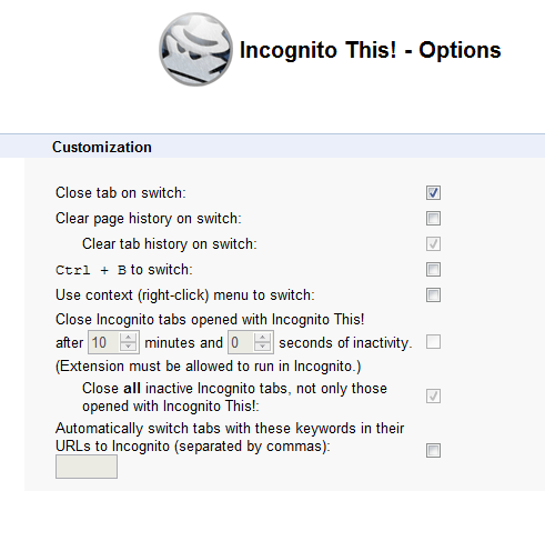 Options for Incognito This!
