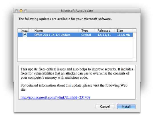 Microsoft Autoupdate showing Office updates