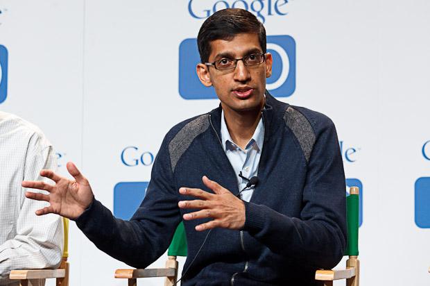 Sundar Pichai, senior vice president of Chrome, speaking at Google I/O in May 2011.