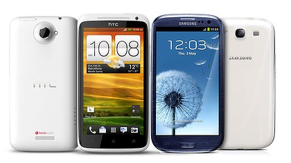 HTC One X alongside the Samsung Galaxy S III.