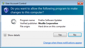 Firefox Software Updater UAC