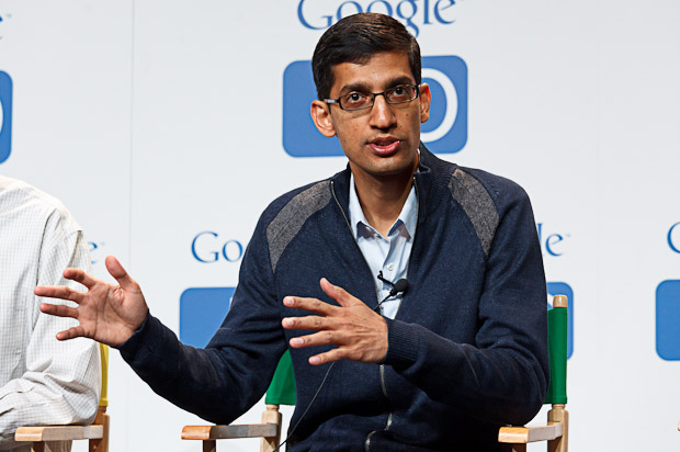 Sundar Pichai, senior vice president of Chrome, speaking at Google I/O in May 2011.