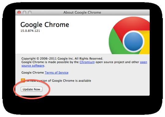 Chrome update window