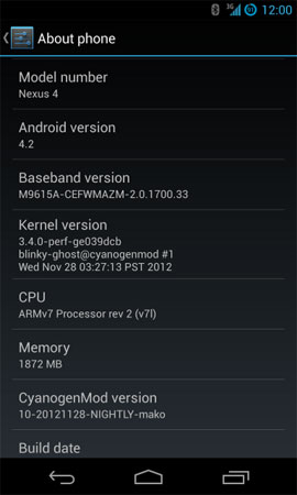 CyanogenMod 10.1 on a Nexus 4