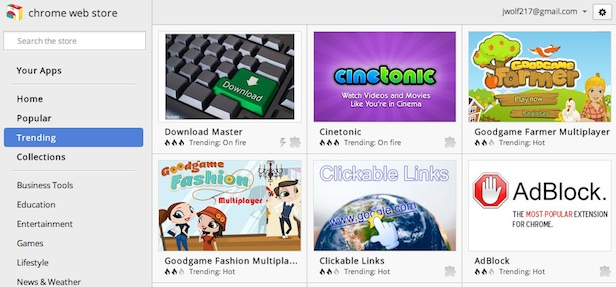 Chrome Web Store Trending View