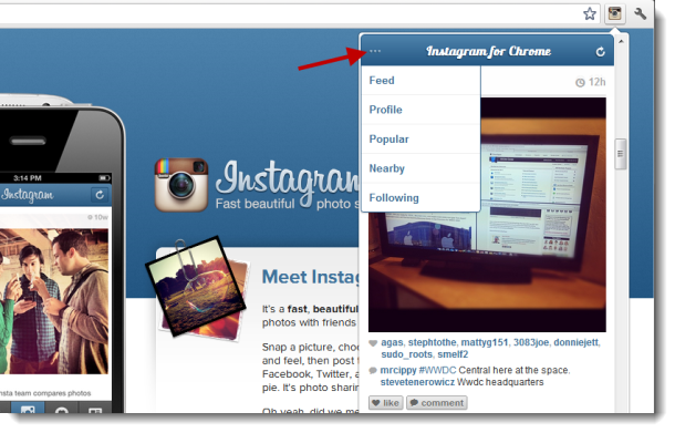 Using Instagram for Chrome