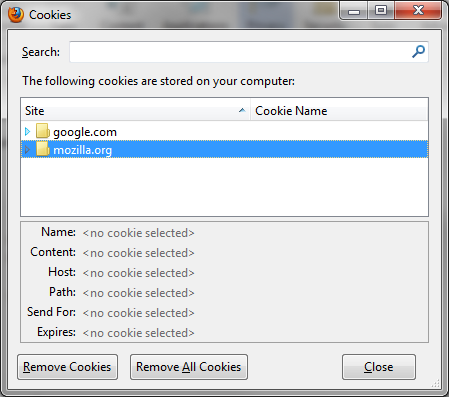 Firefox Cookies window