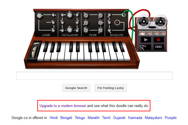 Google using Bob Moog doodle to promote Chrome