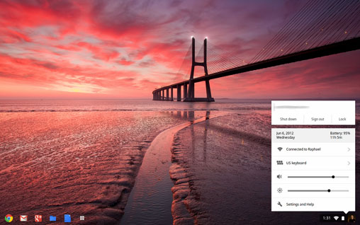Chrome OS Menu