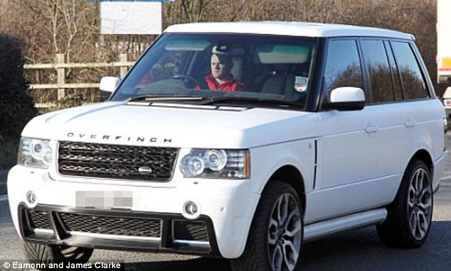 Same car, different colour: Wayne Rooney turned his Range Rover from silver to white