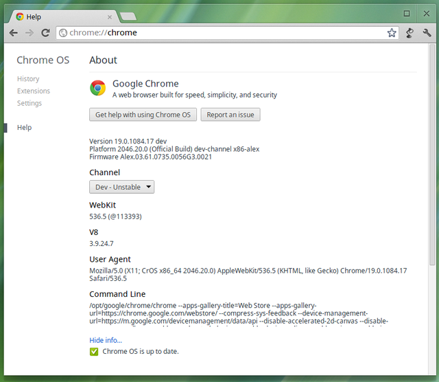 Adjusting the Chrome OS update channel