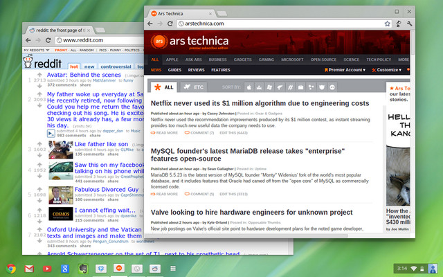 Overlapping windows on the Chrome OS desktop