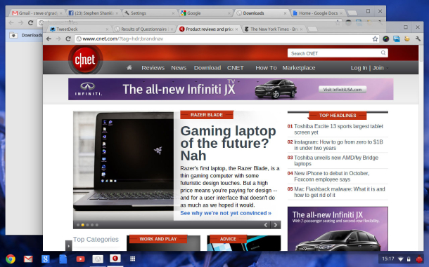 The biggest change to the new Chrome OS interface is the ability to have multiple browser windows, each movable and resizable. Previously, the windows had only a full-screen view.