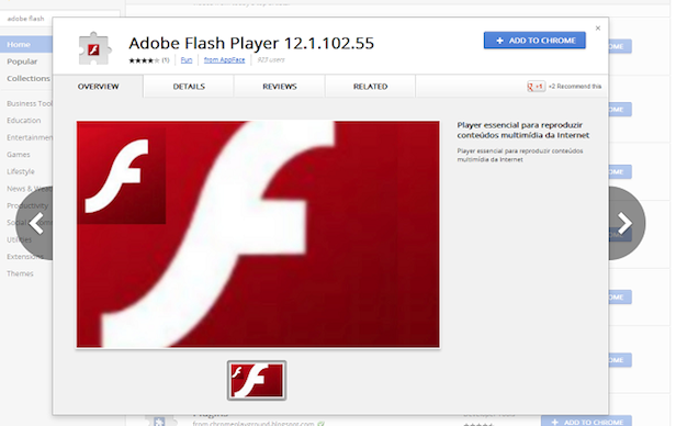 Chrome extension pretends to be Flash but actually hijacks your Facebook profile.