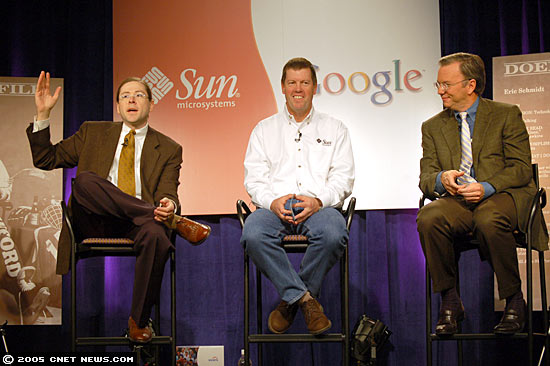 Happier times: Sun and Google were Java allies in 2005, when Suns then-president Jonathan Schwartz, left, and CEO Scott McNealy, center, joined Google CEO Eric Schmidt to tout a partnership that ultimately fizzled.