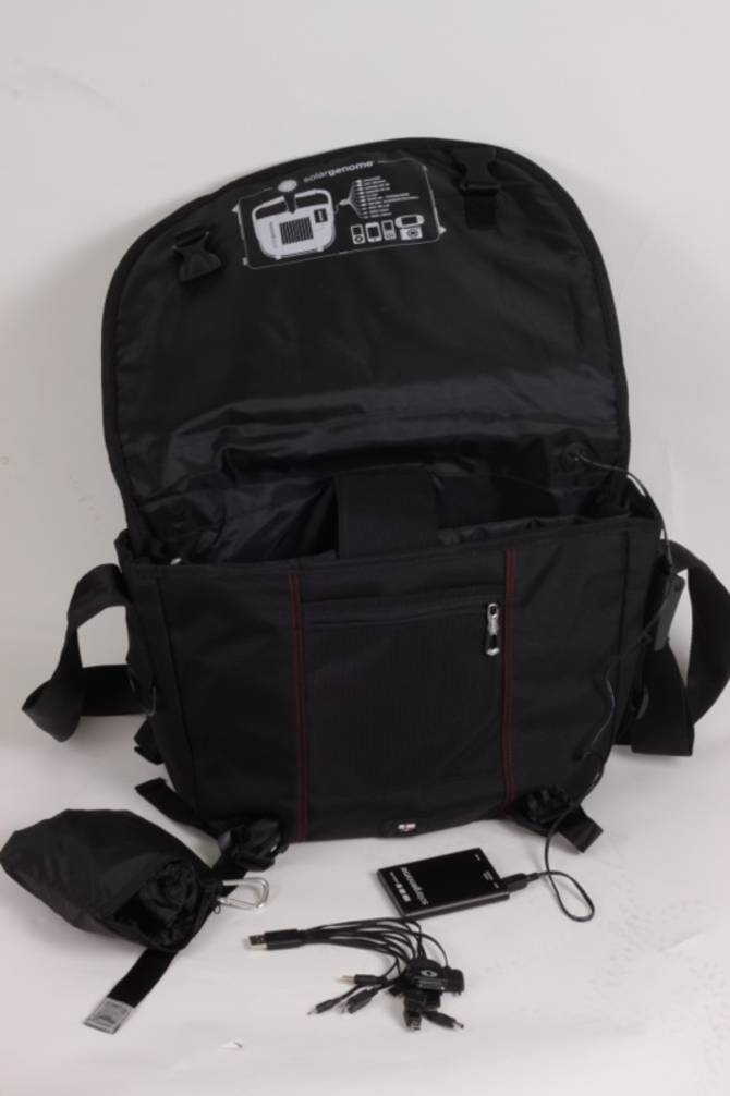 The bag comes with a battery, to collect from the solar panel, and usb charging adaptors: the bag comes with a battery, to collect from the solar panel, and usb charging adaptors